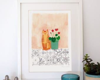 A4 Giclee print: Cat with Geraniums