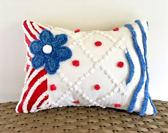 Blue pillow cover AMERICA 12 X 16 patriotic red white blue chenille cushion cover cottage style nautical beach