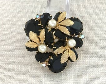 Black Rhinestone Brooch - Vintage Rhinestone Pin - Flower Brooch - Womens Summer Jewelry Brooch - Vintage Rhinestone Jewelry Brooch For Her