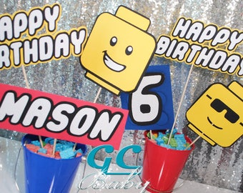 CUSTOM Lego style Centerpiece Picks & Cupcake Toppers - Gamer Party Decorations, Table Decor