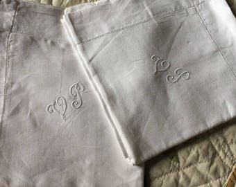 Pair of linen vintage French shams monogramed VP