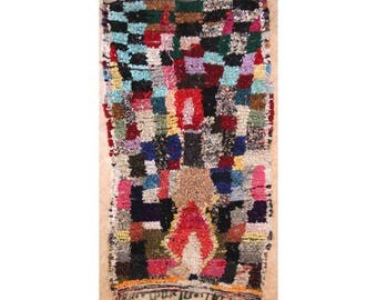 "230X130 cm 7'6"" x 4'3""    T30159  boucherouite , boucharouette,  moroccan rugs , berber rugs, morocco carpets"