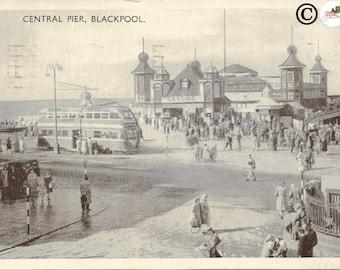 Central Pier, Blackpool London Street Scene British Double Decker Bus Vintage Postcard 1950's