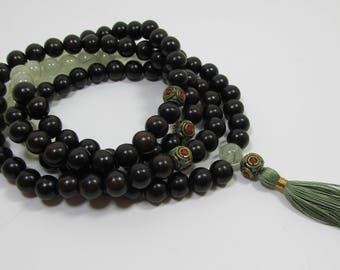 Ready to ship 108 beads Ebony wood and prehnite mala in 10mm - natural ebony with green silk tassel