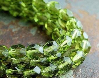 Olivine Green Crystal Czech Glass Bead 4mm Round - 50 Pc