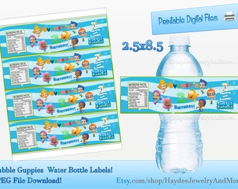 Guppies labels etsy for Bubble bottle label template