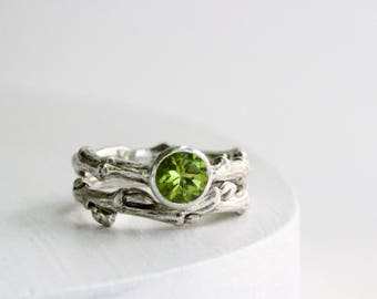 Peridot Engagement Ring Set, Eternity Silver Twig Rings