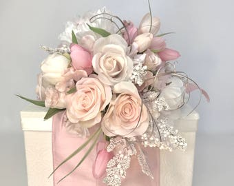 Pink Cream Baby Girl Gift Box Mothers Day Her Birthday PreWrapped Gift Box Pink Rose Pale Pinks Cream With Rhinestones