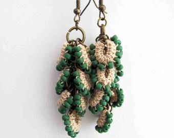 Green Beaded earrings. Beige crochet earrings. Long Cluster earrings. Modern fiber textile jewelry. Frosted green earrings. Rustic earrings.