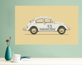 ON SALE Herbie the Love Bug Wall Sticker Decal by Florent Bodart