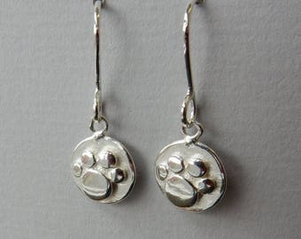 Silver Paw Print Drop Earrings