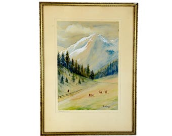 """original watercolor painting, 1930s, Rocky Mountains, framed, pine trees, mountains, deer, stormy sky, a vintage beauty, 20""""x14.5"""""""