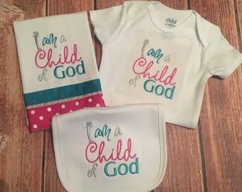 "Baby Girls ""I Am A Child Of God"" Onesie, Bib, and Burp Cloth Set. Size 0-3 Months"