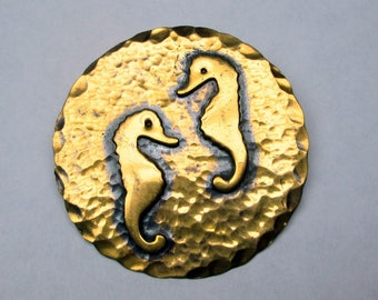 vintage copper seahorse pin / brooch , not marked hammered
