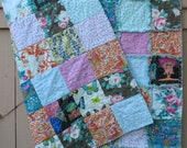 rag quilt THROW - Designer Collections - reversible