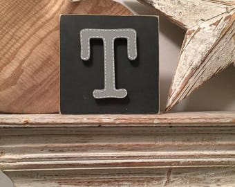 Wooden Letter Blocks, 3D letter, Signs, Letter T, 15cm square, all letters available, rustic finish