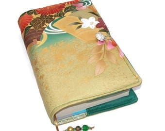 Small to Medium Book Cover in Vintage Kimono Silk, Bible Cover, Golden Glow, for Hardback Books or Paperback Books, UK Seller