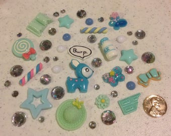 TL;DR Decoden kit collection blue and green, rainbow rhinestones kawaii phone case decoration rude deer