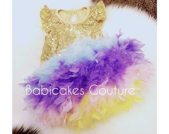 Unicorn Cake Smash, Unicorn Feather Diaper Cover & Unicorn Headband Set, Rainbow Feather Diaper Cover, Gold Sequin Unicorn Outfit
