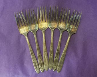 Grosvenor Pattern Replacement 1921 Silver Plate Silverware Collectible Community Plate Forks Salad Forks Desert Forks Flatware