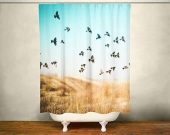 Dreamy Birds Shower Curtain, Blue Bathroom Decor, Gift for Her, Texas Home Decor, Bird Bathroom Decor, Bird Pattern, Modern Bathroom