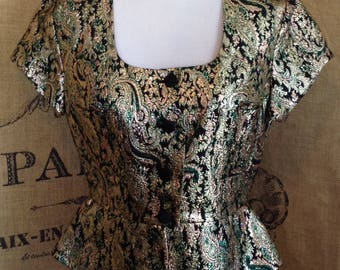 Peplum, Womenstyl Nouvelle Couture,  metallic blouse, France