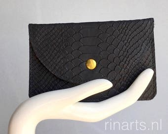 Leather purse / leather pouch in black snake print embossed leather. With two compartments.  Black snake print leather wallet