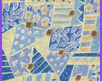 Unusual Patchwork Cotton Fabric Blues Yellows Buttons Flowers Trees Branches FAT QUARTERS FQ