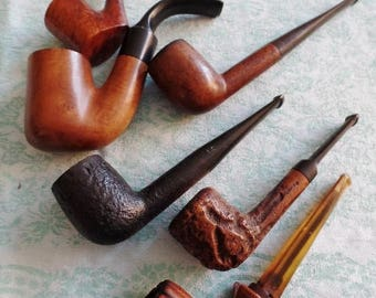Vintage Pipes Tobacco Smoking Instant Collection (6) Tobacciana Wood Lot