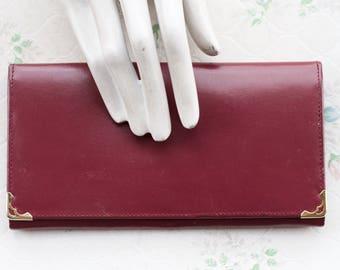 Burgundy Red Leather Wallet - Vintage Long Purse - Fleurose Made in London