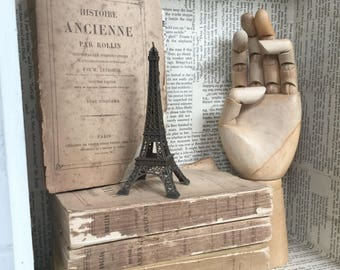 Antique old French book bundle literature displays etc.. A collection of 5 old French history books ideal for display,