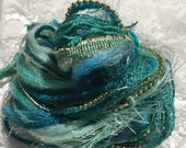 Fiber Art Bundle Ocean Wave, Novelty Yarn, Embellishments, Mixed Media, Scrapbooking, Journaling, Arts and Crafts