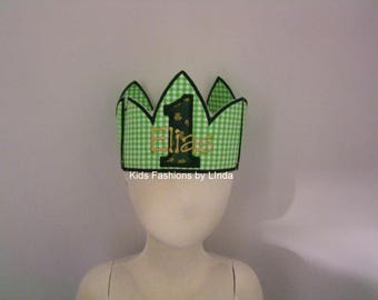Green Gingham /Shamrock  Applique Number Crown with Name