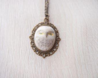 OOAK handmade owl necklace