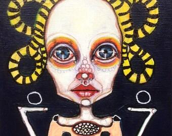 Original,  portrait, painting, weird art, girl