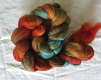 "4oz corridale wool roving hand dyed for spinning yarn making needle felting fiber arts supplies burnt orange blue teal ""Autumnal"" colorway"