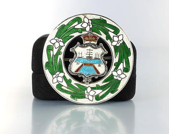 Heraldic Brooch, Bermuda Crest White Lily Sterling Guilloche Enamel Brooch, English mark, Art Deco jewelry