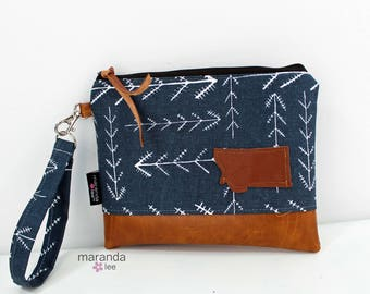 Flat Clutch Large Native Blue with MT Patch PU Leather READY to SHIp