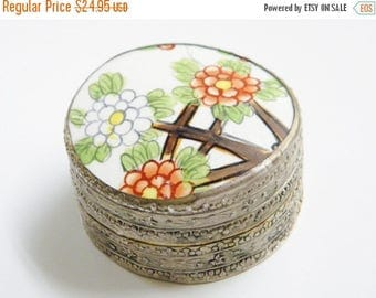 ON SALE Vintage Porcelain Silver Shard Box Jewelry Snuff Tibetan Chinese