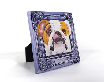 "English Bulldog Art Print on Canvas - Golden Brown and White - English Bulldog Art - Bulldog in a Frame - 8"" x 8"""