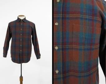 Vintage Pendleton Pocket Shirt Rust Brown Blue Wool Plaid Made in USA - Size Medium