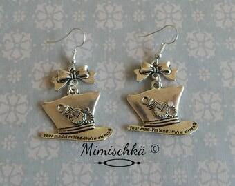 earrings madhatter hat alice in wonderland