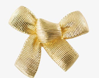 Vintage Signed Christian Dior Gold Tone Ribbon Bow Brooch