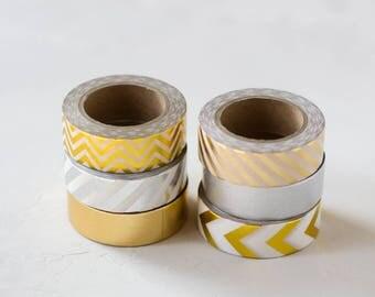 Gold + Silver + Champagne Foil Metallic Washi Tape Set - 6 pc - Chevron / Diagonal Stripe / Solid / Arrow