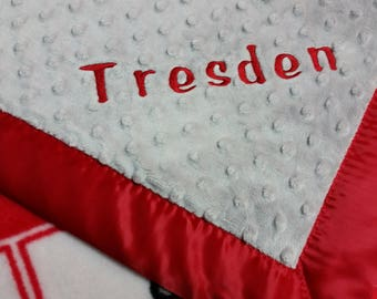 Personalized Nebraska Corn HUskers Fleece and Minky Baby Blanket with football applique
