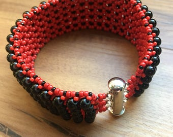 Embellished Beaded Bracelet in Red and Black