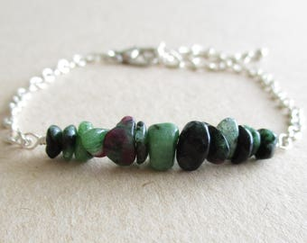 Ruby in zoisite gemstone chip beads bracelet - healing, spirituality, fertility