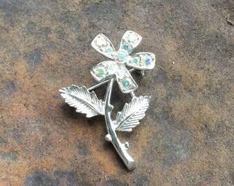 Vinatge Flower Aurora Borealis Rhinestones Brooch Sarah Coventry