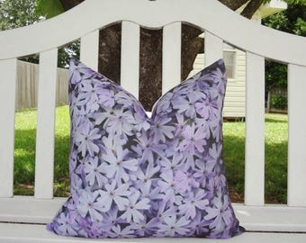 FALL is COMING SALE Outdoor Decorative Photography Pillow Cover Purple Flowers Pillow Cover Throw Pillow Cover Size 18x18