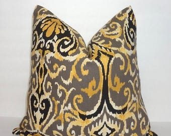 SPRING FORWARD SALE Magnolia Winchester Brown Taupe Black Yellow Ikat Floral Pattern Pillow Cover Couch Cushion 18x18
